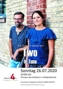 Open-Air-Konzert mit Two in Tune am  26. Juli 2020,